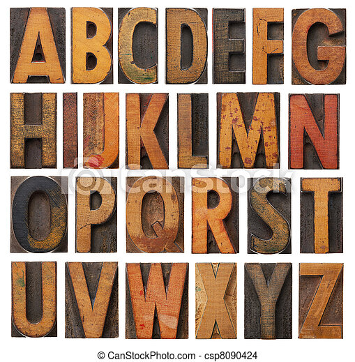 vintage wooden alphabet set - csp8090424