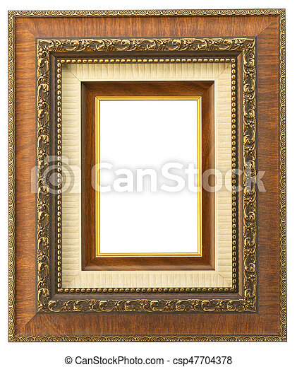 Vintage wooden frame isolated on white background - csp47704378
