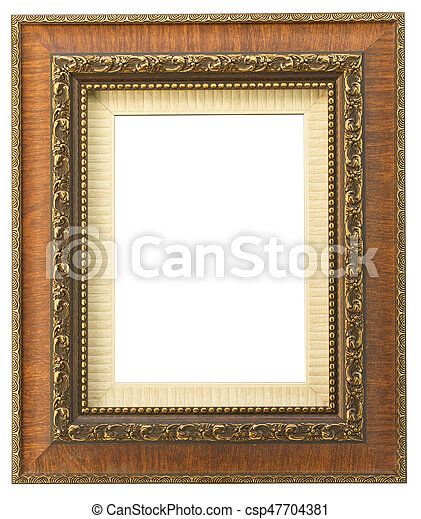 Vintage wooden frame isolated on white background - csp47704381