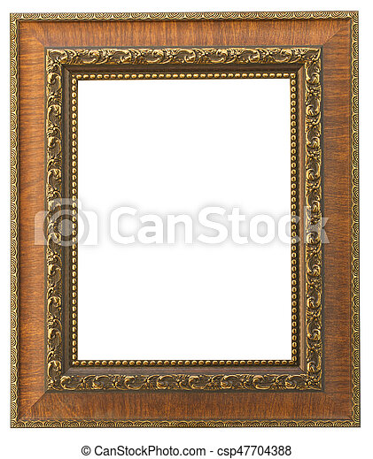 Vintage wooden frame isolated on white background - csp47704388