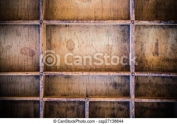 Vintage Wooden Letterpress Drawer - csp27138844