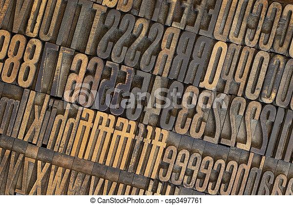 vintage wooden letterpress types background - csp3497761