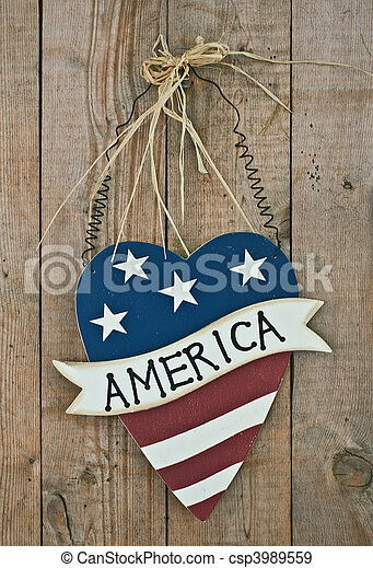 vintage wooden patriotic decor - csp3989559