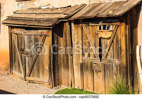 Vintage Wooden Sheds in Arizona Desert