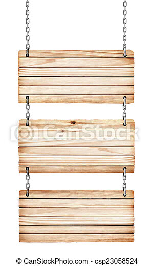 vintage wooden signs on white background isolated - csp23058524