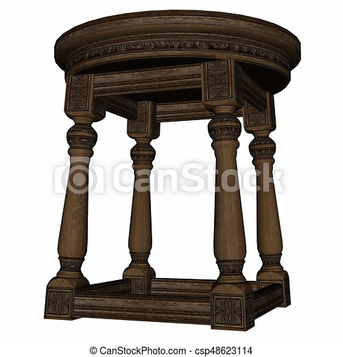 d01406109063b Vintage wooden stool - 3d render. Vintage wooden stool isolated in ...