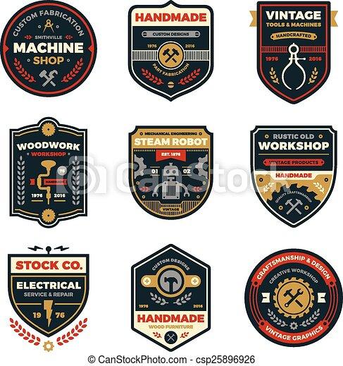 Vintage workshop badges - csp25896926