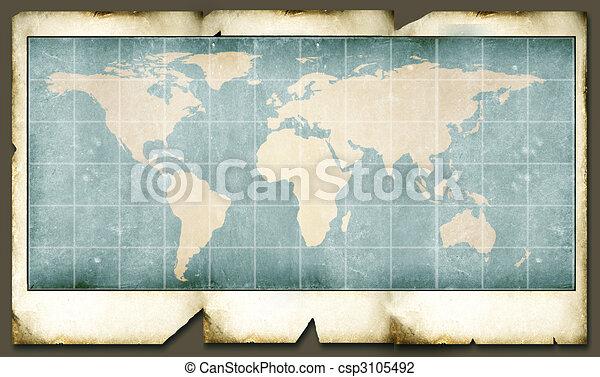 Vintage world map2d digital art clip art search illustration vintage world map csp3105492 gumiabroncs Image collections