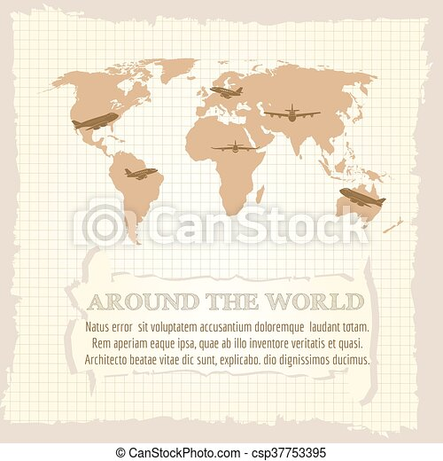 Vintage world map airplanes and text around the world on notebook vintage world map csp37753395 gumiabroncs Images