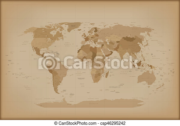 Vintage world map retro illustration isolated on white drawing vintage world map csp46295242 gumiabroncs Gallery