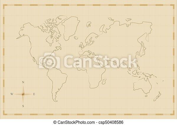 Vintage world map old hand drawn illustration art. Vintage world map ...