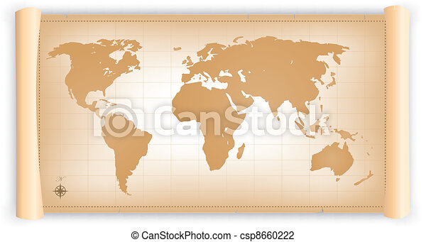 Vintage world map on parchment scroll illustration of an vector vintage world map on parchment scroll csp8660222 gumiabroncs Gallery