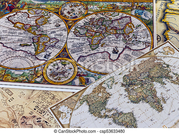 Vintage world map vintage color maps of the world of pictures vintage world map csp53633480 gumiabroncs Image collections