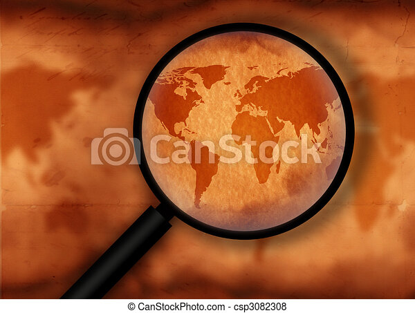 Vintage world map with magnifying glass stock illustration search vintage world map csp3082308 gumiabroncs Images