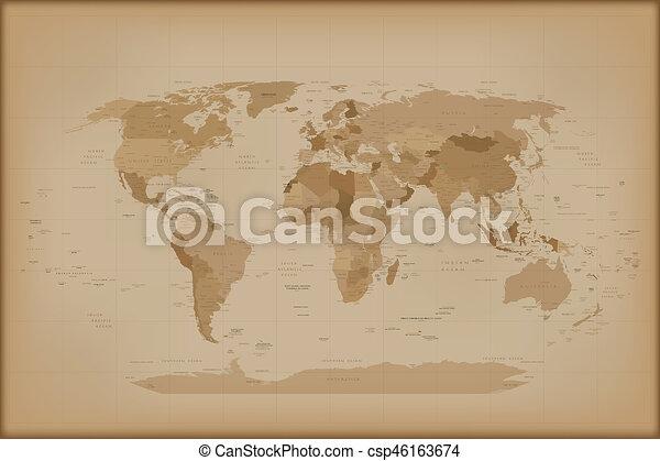 Vintage world map retro illustration isolated on white stock vintage world map csp46163674 gumiabroncs Images