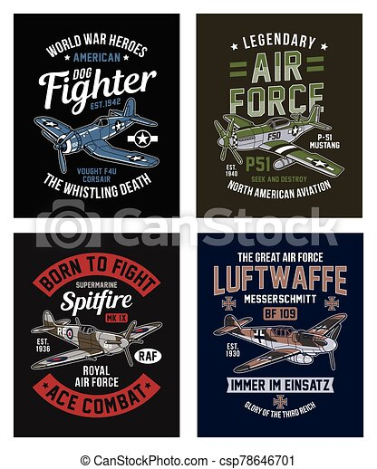 Vintage World War 2 Fighter Aircraft Graphic T-shirt Collection - csp78646701