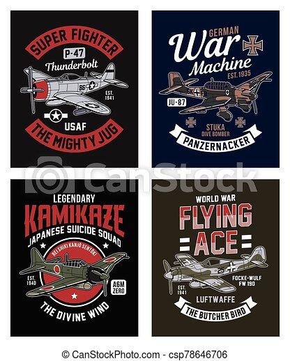 Vintage World War 2 Fighter Plane Graphic T-shirt Collection - csp78646706