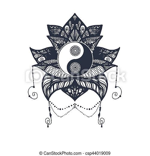Vintage Yin And Yang In Lotus Vintage Yin And Yang In Mandala Lotus