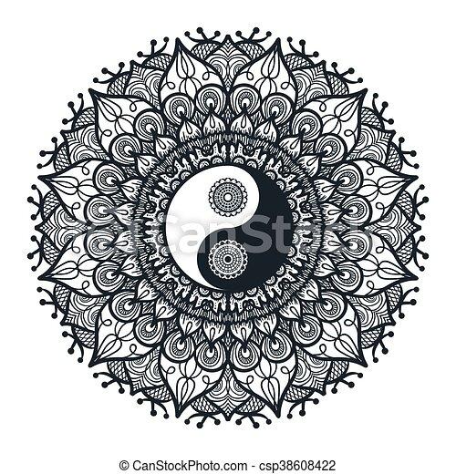 vintage yin and yang in mandala. tao symbol for print
