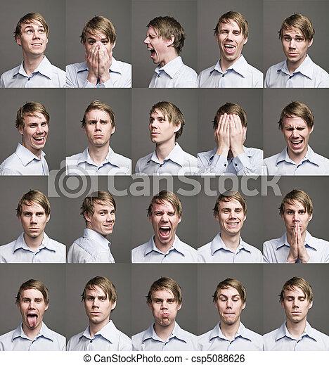 vinte, diferente, homem, expressões, retratos - csp5088626