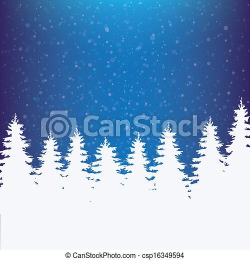 vinter, bakgrund, snöig - csp16349594