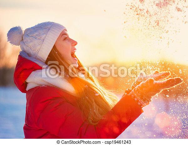 vinter, skönhet, parkera, nöje, flicka, ha - csp19461243