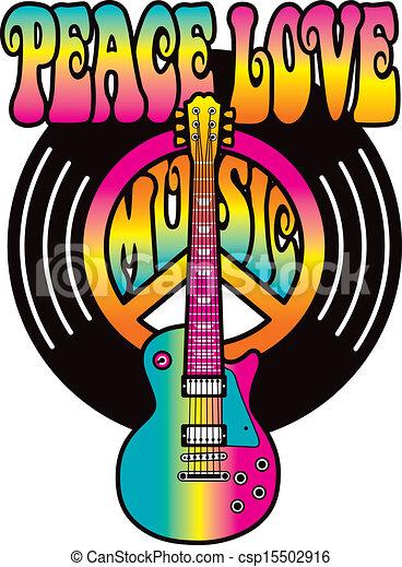 Vinyl Peace Love Music - csp15502916