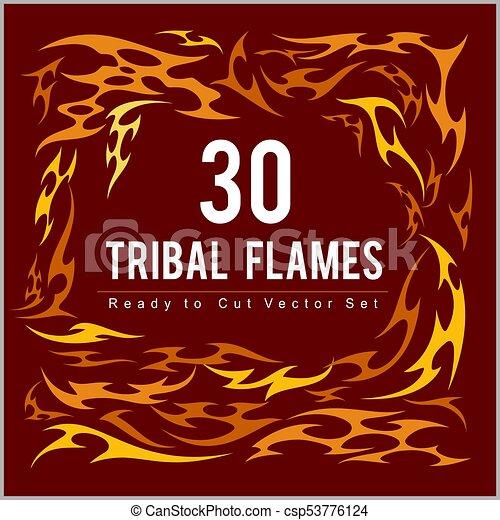 Vinyl ready fire flames set. - csp53776124