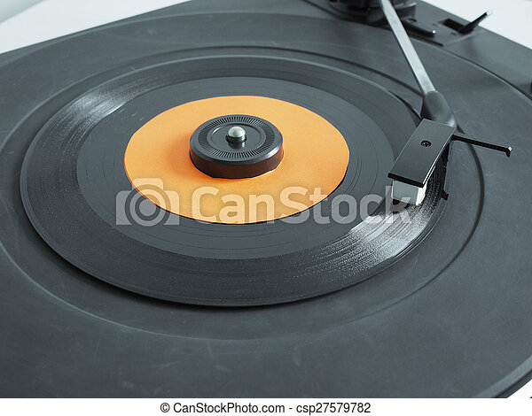 Vinyl record on turntable - csp27579782