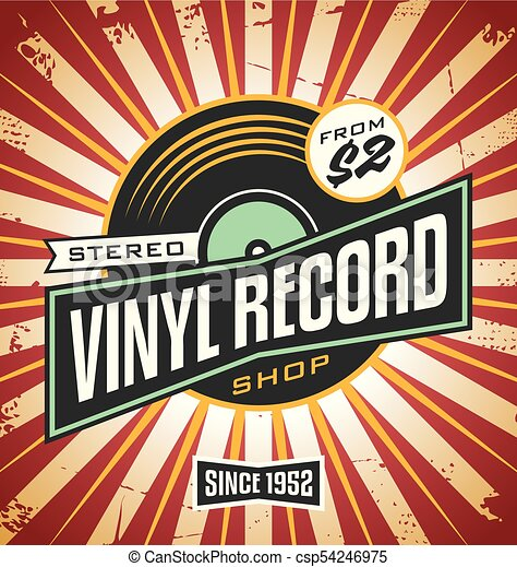 vinyl record shop retro sign design promotional poster idea for