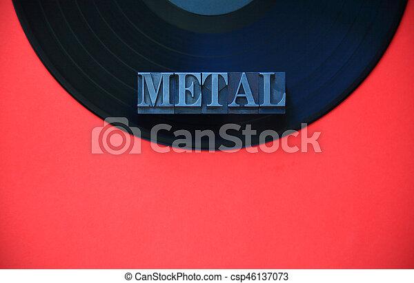 Vinyl record with metal word - csp46137073