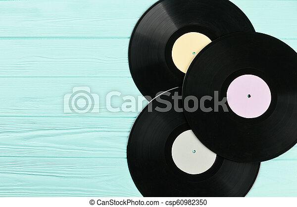Vinyl records and copy space. - csp60982350