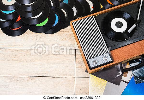 Vinyl records and Gramophone - csp33961332