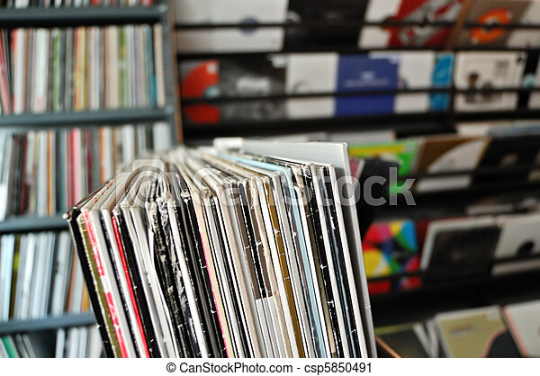 vinyl records at record store - csp5850491