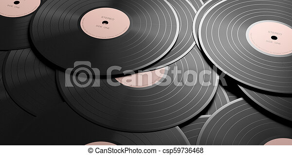 Vinyl records LP with pink label, full background  3d illustration