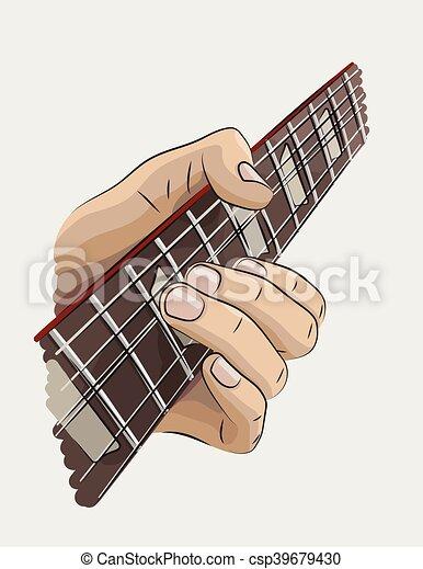 Violao Jogando Ilustracao Colorido Colorido Mao Guitarra