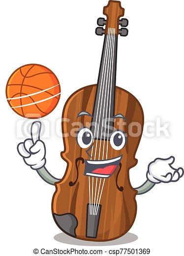 violín, mascota, juego, carácter, imagen, caricatura, baloncesto - csp77501369