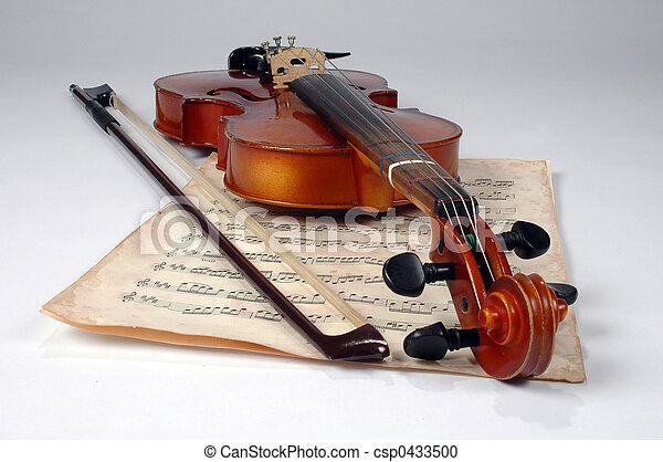 Vieja hoja de violín y música - csp0433500