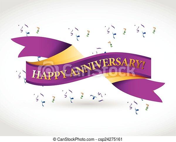 viola, anniversario, nastro, felice - csp24275161