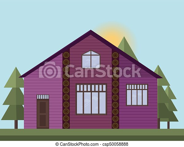 viola, casa, illustrazione, dipinto, vettore, tramonto, fondo, forrest., facciata, legno - csp50058888