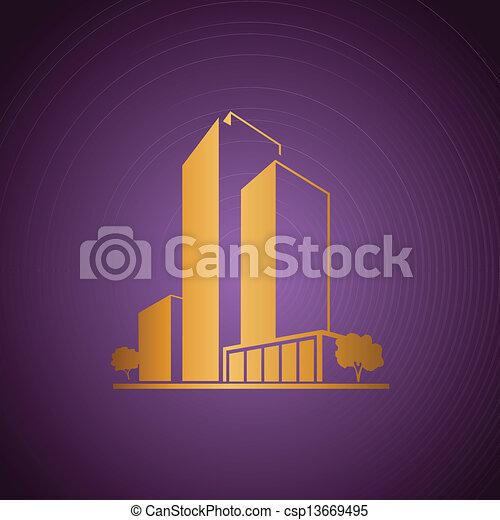 viola, dorato, sopra, appartamenti - csp13669495