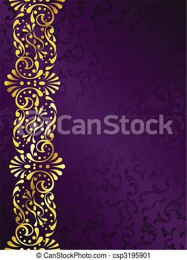 viola, filigrana, margine, fondo, oro - csp3195901