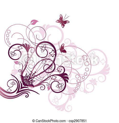 viola, floreale, angolo, disegnare elemento - csp2907851
