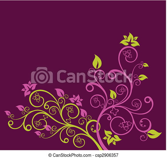 viola, floreale, vettore, verde, illustrazione - csp2906357