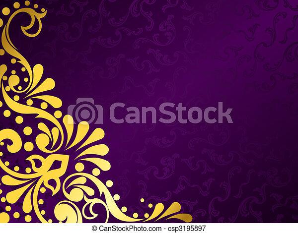 viola, orizzontale, filigrana, fondo, oro - csp3195897