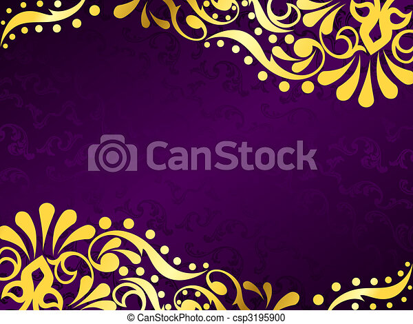 viola, orizzontale, filigrana, fondo, oro - csp3195900