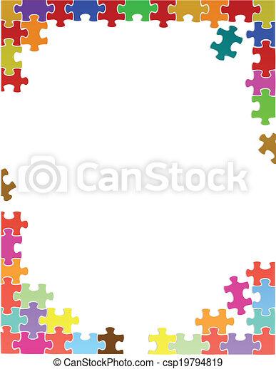 viola, puzzle, illustrazione, pezzi, sagoma, bordo - csp19794819