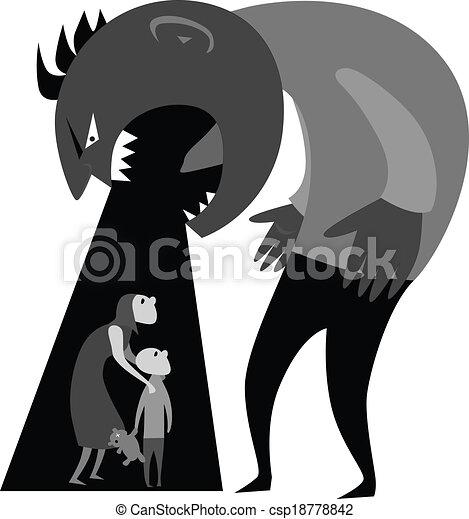 Violenza domestico grigio donna mostro ilustration for Piani di architetto domestico