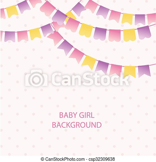 Cute Vintage Textile Pink And Violet Bunting Flags For Girl S Baby Shower