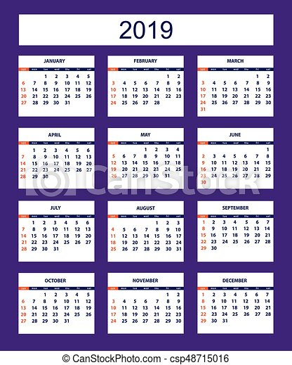 violet business american calendar for wall year 2019 csp48715016